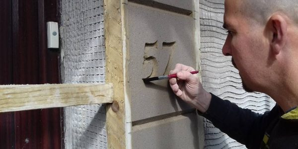 Pauls Plastering - Creating Door Number Detail
